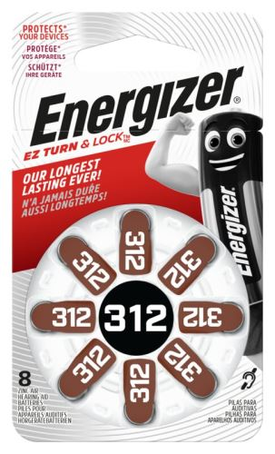 Baterie do naslouchadel Energizer 312 SP-8 8ks EN-634924, (Blistr 8ks)