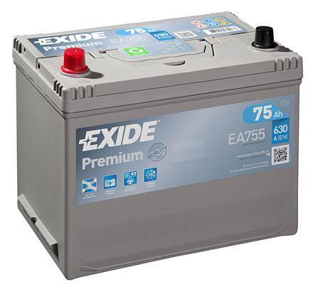 Autobaterie EXIDE Premium, 12V, 75Ah, 630A, EA755, Carbon Boost, Levá