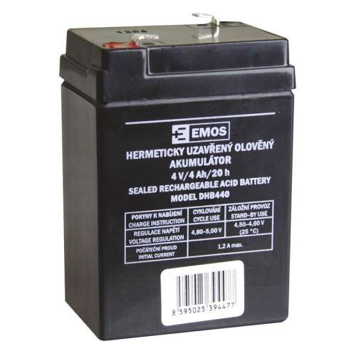 Olověný bezúdržbový akumulátor SLA DHB440, 4V, 4Ah, F1, úzký, ke svítilně P2306 atd.
