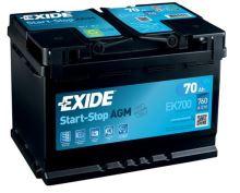 Autobaterie EXIDE Start-Stop AGM, 12V, 70Ah, EK700
