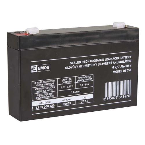 Olověný bezúdržbový akumulátor SLA 6V, 7Ah, F1, úzký