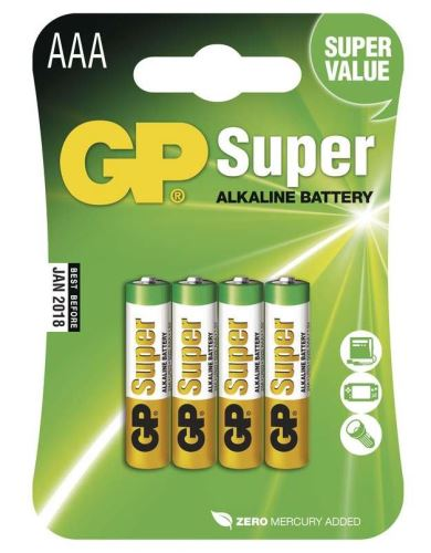 Baterie GP Super Alkaline 24A, LR03, AAA, 1013114000 (Blistr 4ks)