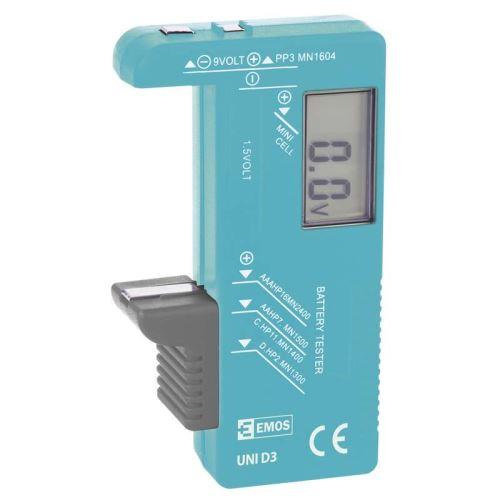 Univerzální tester baterií GP UNI D3 pro AA, AAA, C, D, 9V, knoflíkové, (Blister 1ks)