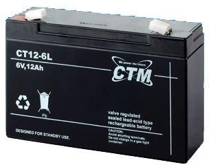 Akumulátor (baterie) CTM/CT 6-12L (12Ah - 6V - Faston 250)