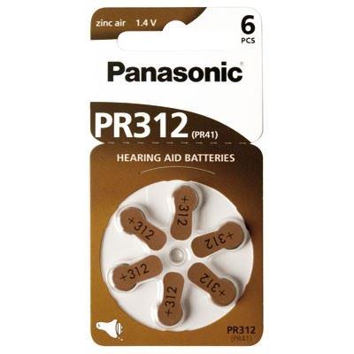 Baterie do naslouchadel Panasonic Zinc-Air PR312, (Blistr 6ks)