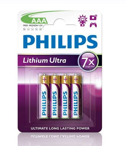 Baterie Philips FR03, AAA, Lithium Ultra, (Blistr 4ks)