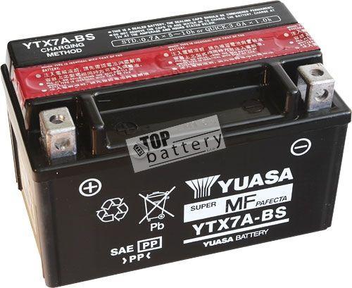 Motobaterie YUASA YTX7A-BS, 12V, 6Ah