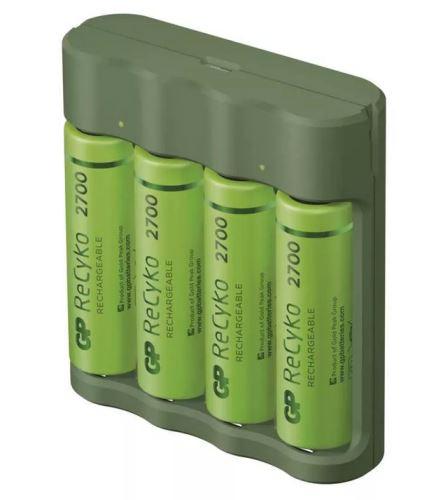 Nabíječka baterií GP Everyday B421 + 4× AA ReCyko 2700 + USB (B52427U )